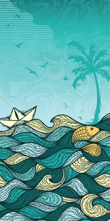 Abstract sea background. Sea palm summer fish paper ship gulls. Summer vertical background for your design. There is blank place for your text in the sky. Vector