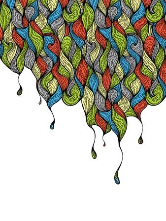 gocce di colore: Gocce di colore di sfondo. Priorit� bassa decorata con onde colorate e gocce. C'� posto per il testo in area bianca. Vettoriali
