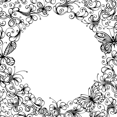 blank center: Vector vintage nature background. Black ornate flowers and butterflies on white background. There is place for your text in the center.