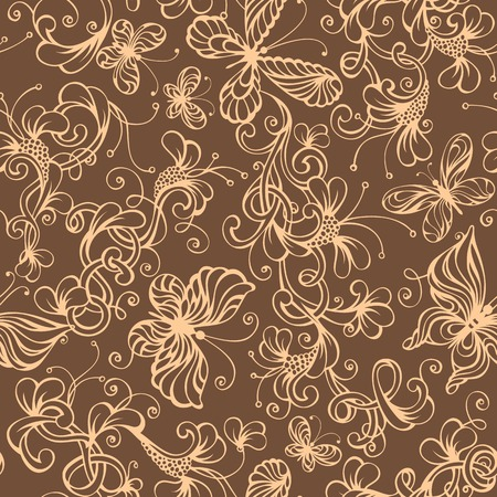 duotone: Seamless duotone floral background. Ornate flowers and butterflies. Vector illustration. Illustration