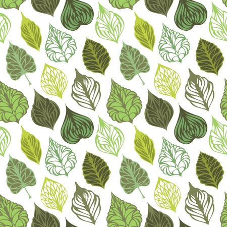 Seamless leaves pattern. Various ornate leaves on white background. Can be used for wrapping paper. Vector