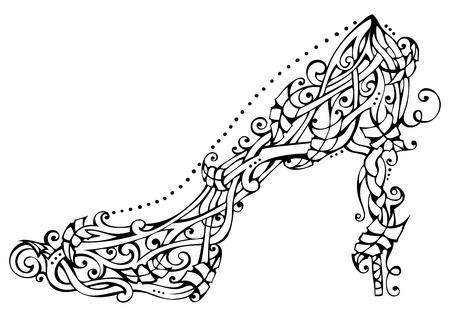nature woman: Nature woman shoe. Vector leaves ornament isolated on white background. Illustration