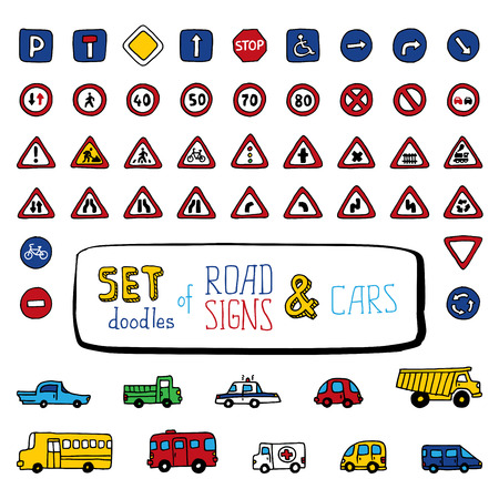Vector set of doodles road signs and cars. Handdrawn design elements isolated on white background. Vector