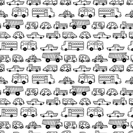 シームレスな落書き車背景。漫画のスタイルの黒と白のベクトルの背景。子供の壁紙 web サイトの背景や包装紙に使用できます。  イラスト・ベクター素材