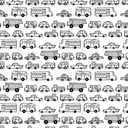 Seamless doodles cars background. Vector black and white background in cartoon style. Can be used for children wallpapers web site background or wrapping paper.