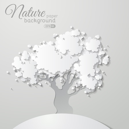 hillock: Vector tree on paper background. Illustration