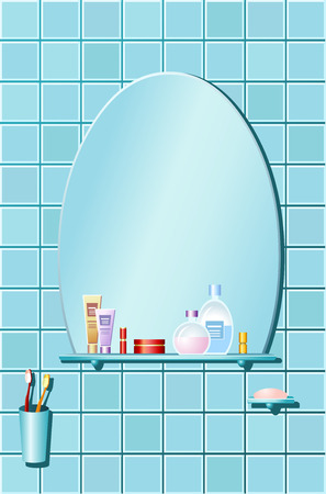 The bathroom. Vector illustrations of bathroom in blue design with cosmetics and beauty products. Vector