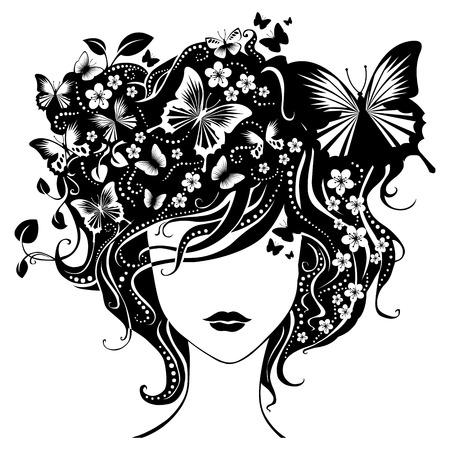 Zusammenfassung Mädchen mit Schmetterlingen im Haar. Illustration hat abstrakten floralen Elementen Mustern.