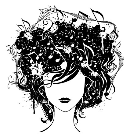 for design: Abstract woman with music in hair. Grunge illustration for your design. Illustration