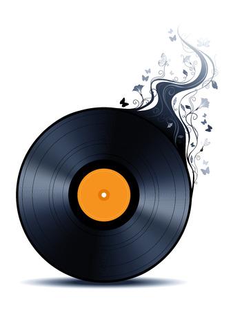 단일 개체: Vinyl record with abstract flowers. Vinyl record isolated on white background. Single object for your design.
