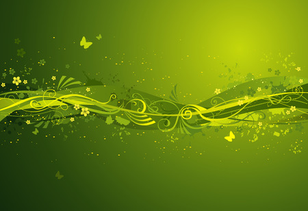 green butterfly: Abstract spring illustratiom. There is place for text on background.