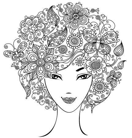 Illustration of woman with abstract floral elements and patterns for your design isolated on white background.