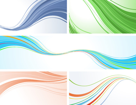 text free space: Five abstract colourful backgrounds with place for your text. Illustration