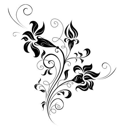 Ornate black and white floral design