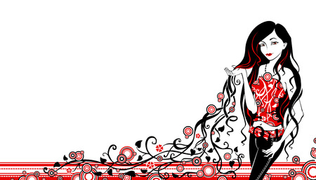 black woman: Black and red vector illustration of woman.