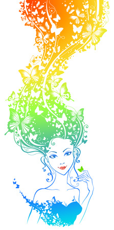 hair color: Abstract colourful illustration of woman with butterflies in her hair.