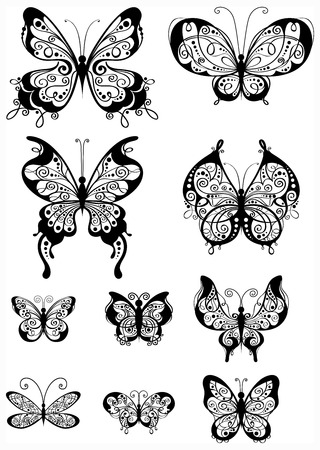 scroll shape: Ten ornate butterflies for your design isolated on a white background. Illustration