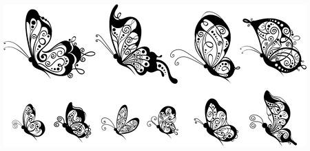 Tien sierlijke vlinders voor uw ontwerp geïsoleerd op een witte achtergrond.