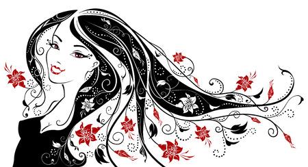 woman smile: Floral woman. Illustration