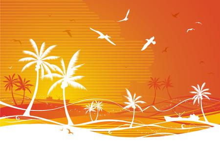 gulls: Summer illustration with palms and gulls. Illustration