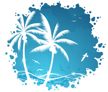 gulls: Tropical illustration with palms and gulls.