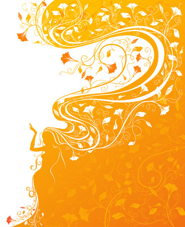 crimp: Bright orange illustration with hair patterned with flowers. Illustration