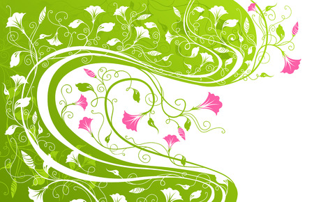 intertwine: Floral design in green and pink colours.