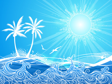 waves pattern: Blue tropical illustration with palms ocean and summer sun.
