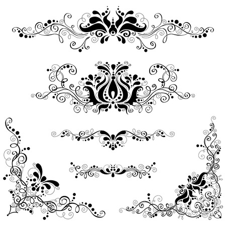 floral corner: Vintage design elements isolated on a white background. Page decorations and dividers. Illustration