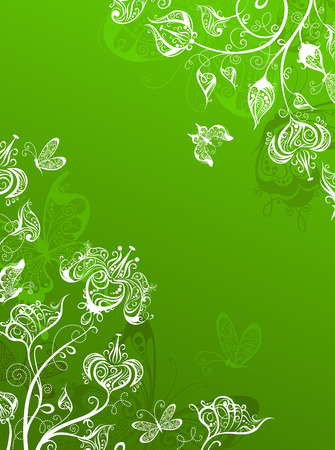 borders abstract: Green background with ornate flowers and butterflies and place for your text.
