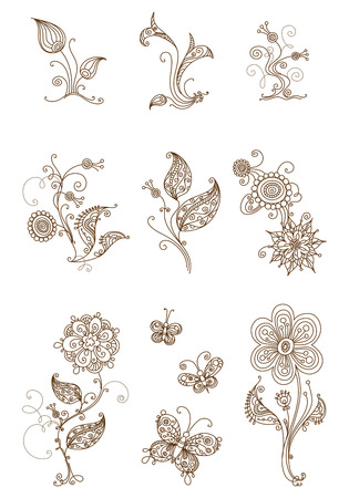 Ornate floral elements for your design in sepia isolated on white background.
