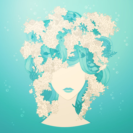 woman underwater: Marine illustration of woman. Underwater life in hair. Vector illustration. Illustration