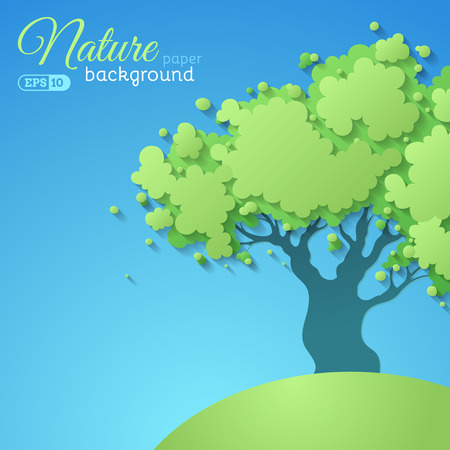 hillock: Paper tree background. Green vector tree on blue paper background. There is place for text.