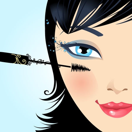 hair brush: Woman paints the eyelashes makeup mascara. Vector beauty illustration with floral vintage elements.