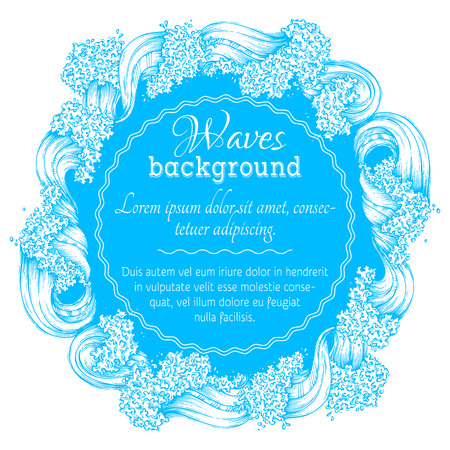 ocean background: Waves circle frame. Blue and white vector ocean background. There is place for text in the center.