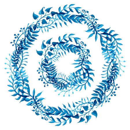 marcos redondos: Marcos naturaleza acuarela azul. Marcos redondos Naturaleza aislados sobre fondo blanco.
