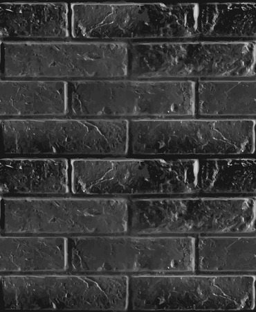 boundless: Vector seamless pattern of black brick wall. Dark boundless illustration.