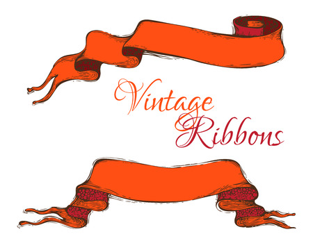 old scroll: Hand-drawn red ribbons isolated on white background. There is copy space for text. Illustration