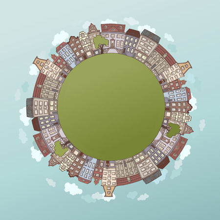 housing: Round city landscape. Handdrawn houses birds clouds and trees. There is place for your text in the center.