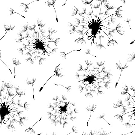 dandelion: Seamless nature pattern. Black and white texture with dandelions. Illustration