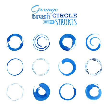 Blue circle ink stains isolated on white background.