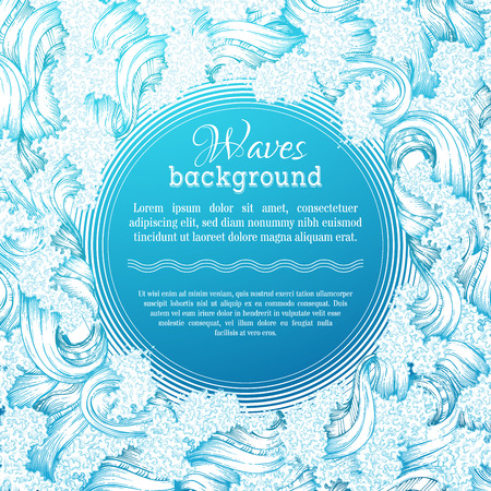 olas de mar: Vector de fondo las olas. Ilustración decorativa Handdrawn seaocean. No hay lugar para el texto en el centro.