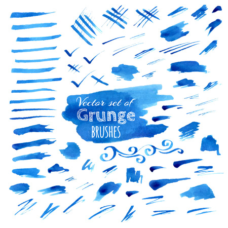 Vector set of watercolor brush strokes. Various blue stains isolated on white background. Illustration
