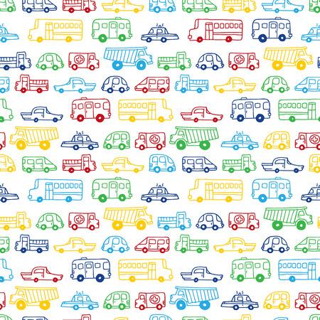 낙서 자동차의 원활한 패턴입니다. 만화 스타일 벡터으로 handdrawn 배경. 아이들을 위해 사용할 수 있습니다하는 것은 웹 사이트 배경 또는 포장지 배경
