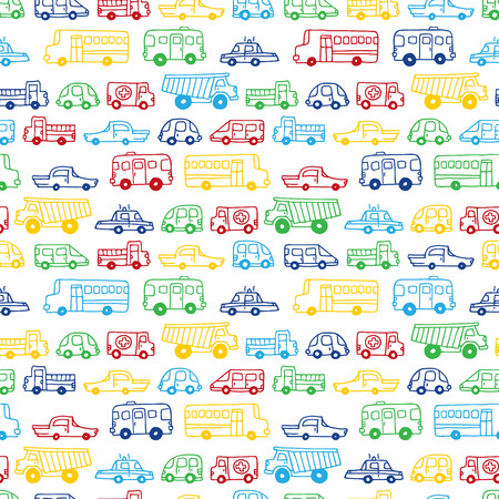 Seamless pattern of doodles cars. Vector handdrawn background in cartoon style. Can be used for children wallpapers web site background or wrapping paper. Çizim