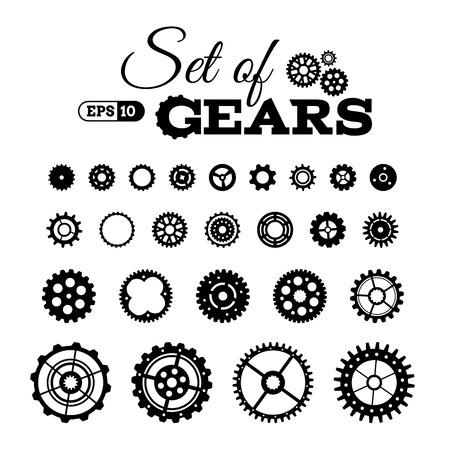 engranes: Vector conjunto de engranajes. Varios elementos de diseño aislados sobre fondo blanco.