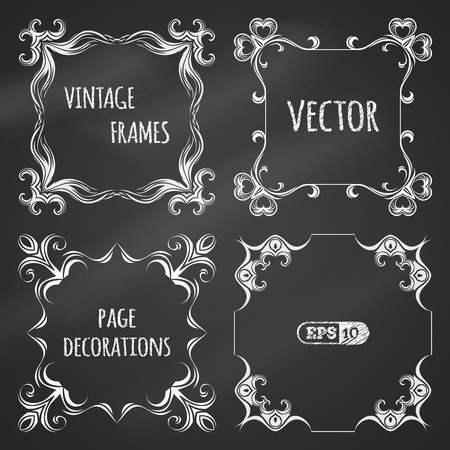 black boards: Vector set of chalk vintage frames. White handdrawn design elements on blackboard. There are places for text. Illustration