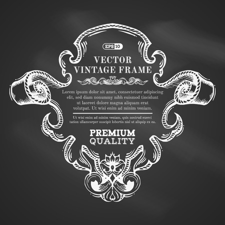 Vector chalk border frame with retro ornament. Vintage badge with retro ornament for page decoration invitation congratulation or greeting card. There is place for text.  イラスト・ベクター素材