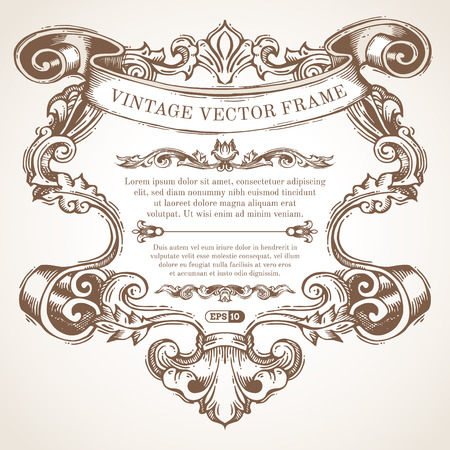 rococo: Vector vintage border frame with retro ornament. Retro handdrawn badge with retro ornament for page decoration invitation congratulation or greeting card. There is place for your text.