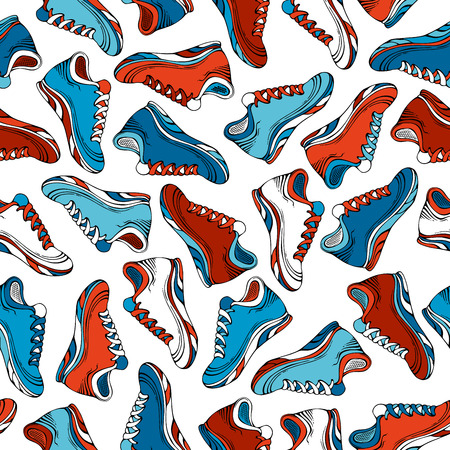 Vector seamless shoes pattern. Colourful jogging shoes on white backgrounds. Sport boundless pattern. Illustration
